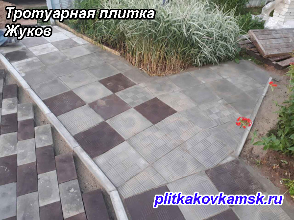 Примеры укладки тротуарной плитки паркет в городе Жуков