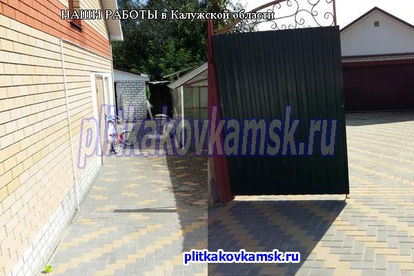 Фото примеры нашей работы по укладке брусчатки в Калужской области