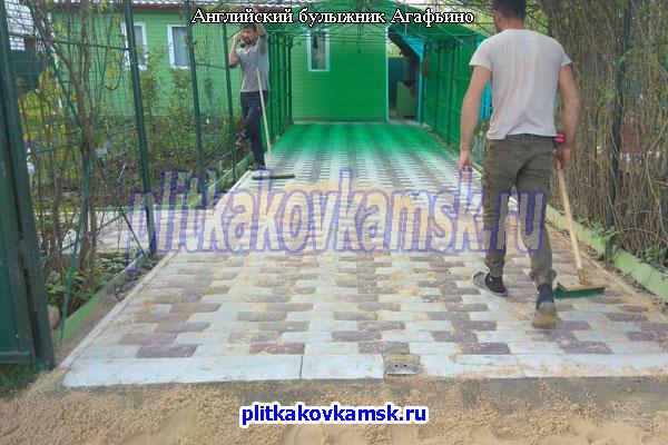 Пример укладки тротуарной плитки Булыжник в Агафьино