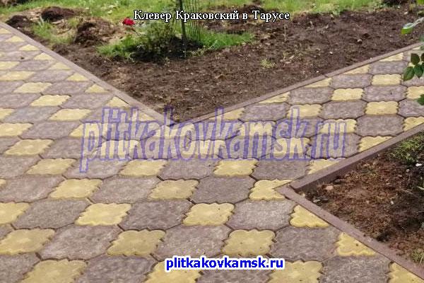 Укладка тротуарной плитки Клевер Краковский в городе Таруса (Тарусский район Калужской области