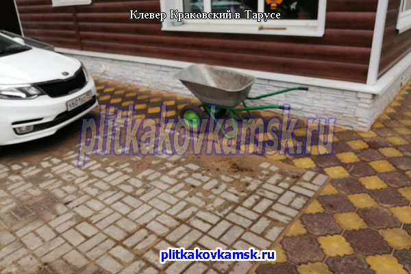 Пример укладки тротуарной плитки клевер в Тарусе