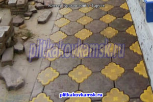 Укладка тротуарной плитки Клевер Краковский в городе Таруса