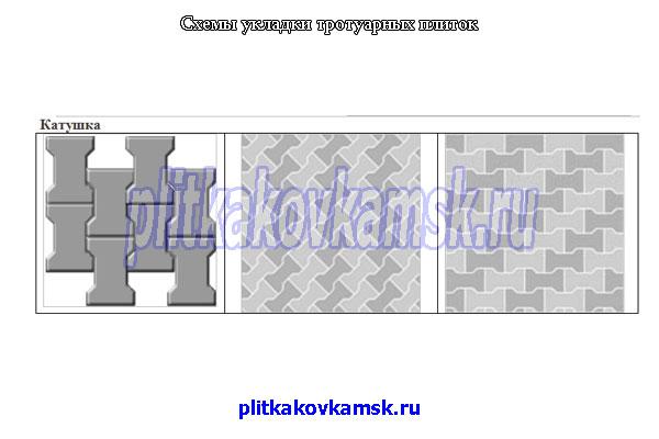 Схема укладки тротуарной плитки Катушка