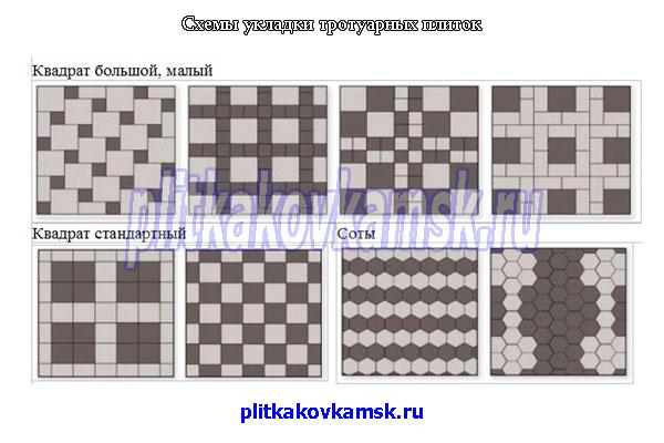 Схемы укладки для тротуарной плитки Квадрат